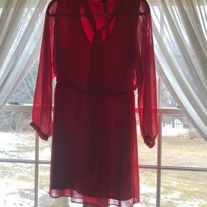 Express red dress with tie